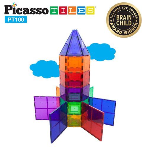 PicassoTiles 100 Piece 3D Clear Magnetic Building Tiles
